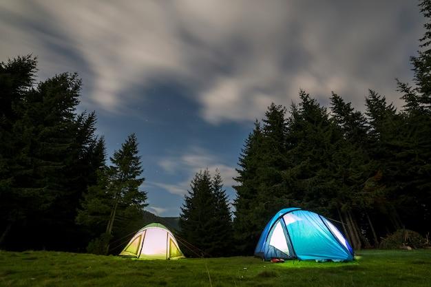 緑の草が茂った森林伐採の2つの観光テント。 Premium写真