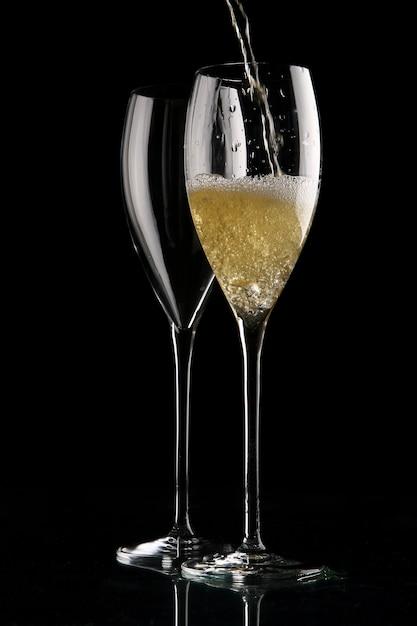 シャンパンを2杯 無料写真