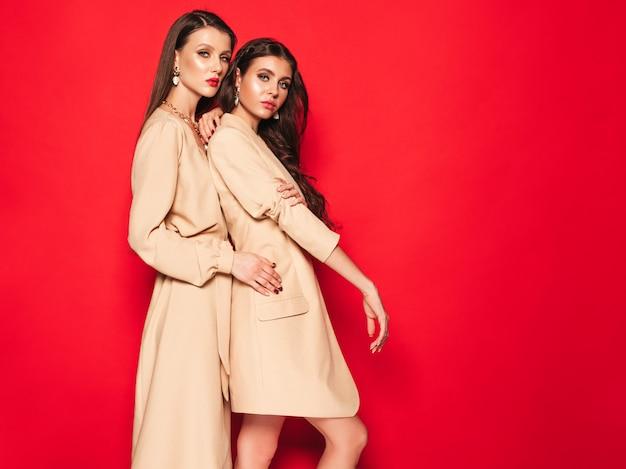 素敵なトレンディな夏服の2つの若い美しいブルネットの少女 無料写真