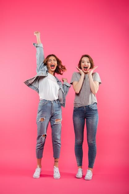 孤立した立っている2人の女性の友人を興奮 無料写真