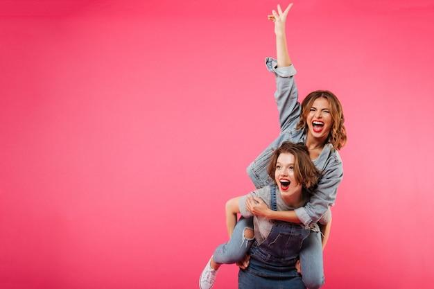 感情的な驚くほどの2人の女性が楽しい時を過す 無料写真