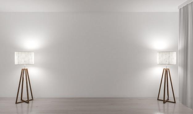 2つのランプと空の壁 Premium写真
