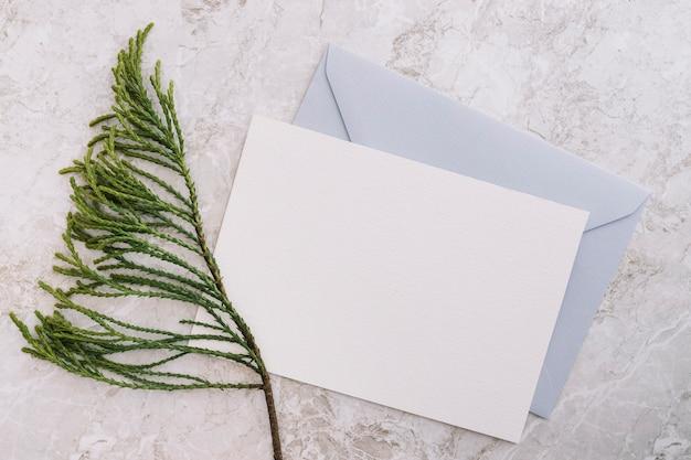 大理石の背景に2つの白と青の封筒とシダーの小枝 無料写真