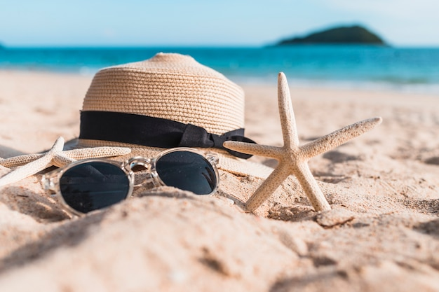 ビーチの砂に帽子を入れた2つの魚介類 無料写真
