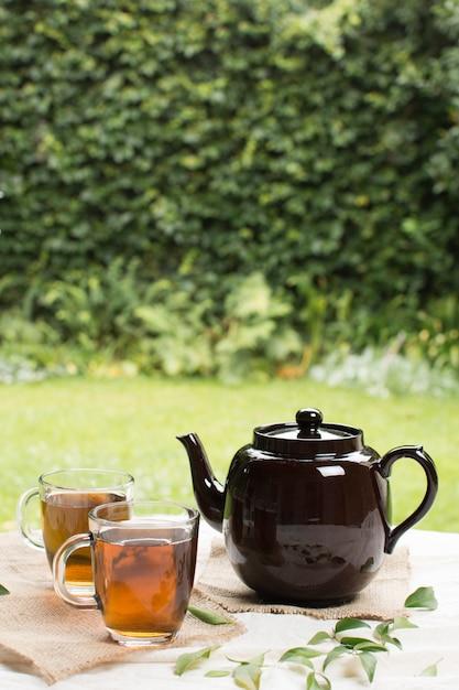 ハーブティーの庭のテーブルの上のティーポットと2つの透明マグカップ 無料写真