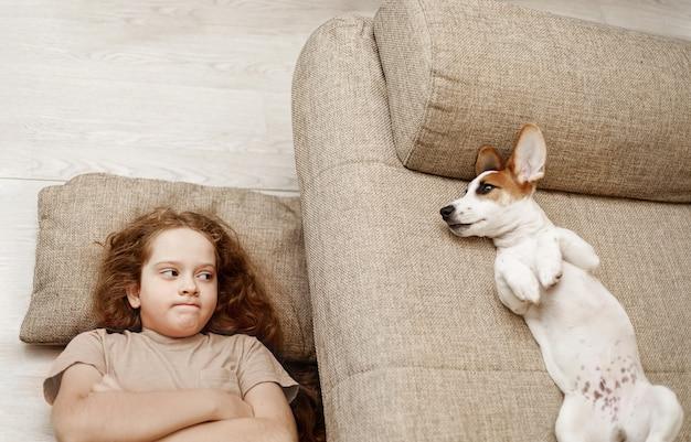 2人のジャックラッセルがベッドで寝ており、少女の所有者が床で寝ています。 Premium写真