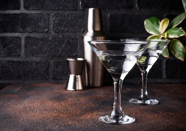 マティーニカクテルを2杯 Premium写真