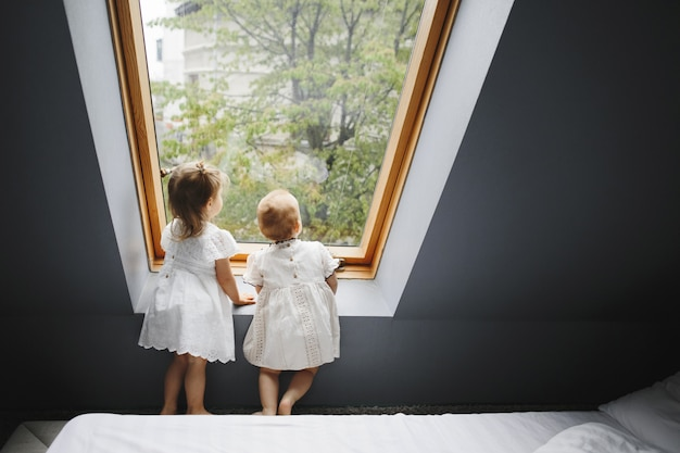 2人の幸せな女の子は、ウィンドウで何かを見ています。 無料写真