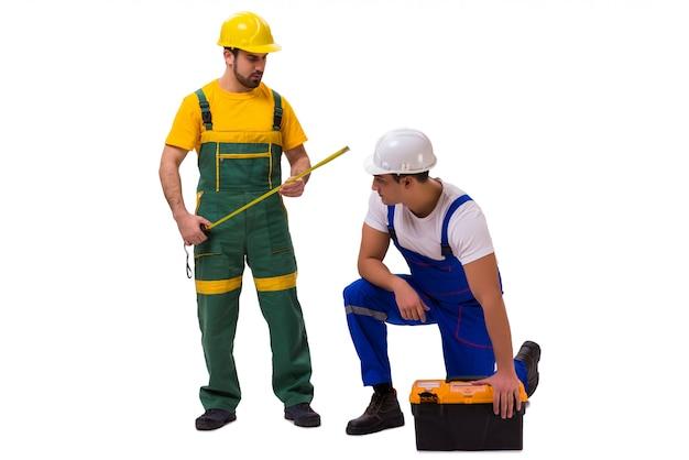 分離された2人の労働者 Premium写真