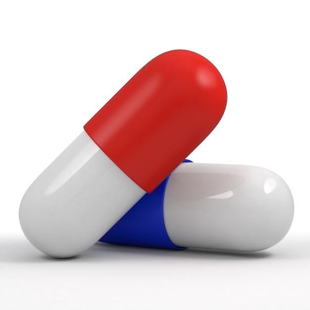 2つの錠剤、赤と青 Premium写真