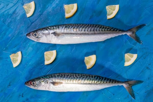 2つの生の新鮮な健康的なサバ魚、トップビューのクローズアップ Premium写真
