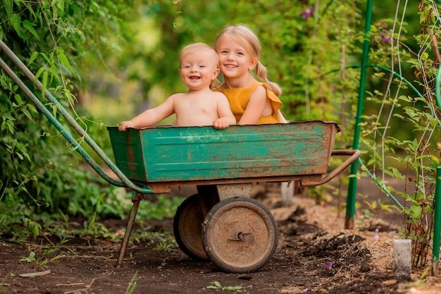 2つの小さな子供の女の子と笑みを浮かべて座っている庭の手押し車で国の少年 Premium写真