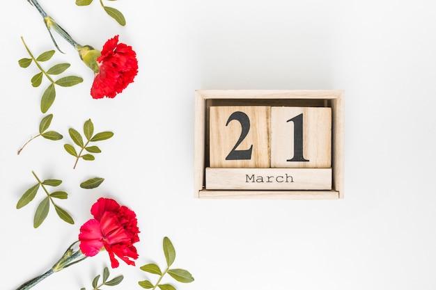 カーネーションの花を持つ3月21日碑文 無料写真