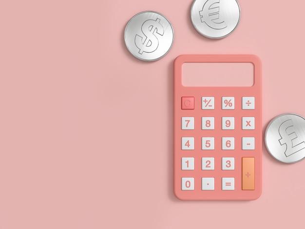 ピンクの電卓とピンクの床に3つの銀貨最小限の3 dレンダリング Premium写真