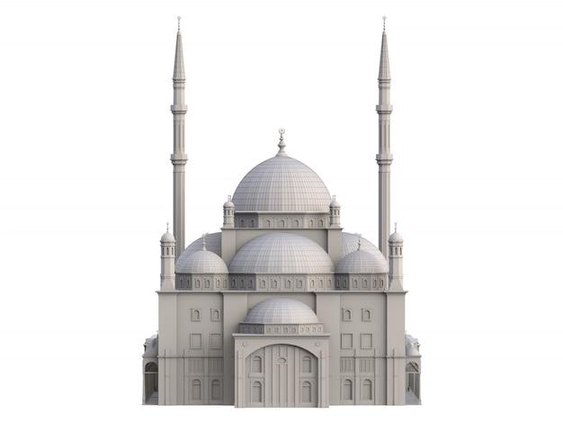 大規模なイスラム教のモスク、構築の詳細を強調する等高線を備えた3次元ラスター図。 3dレンダリング。 Premium写真