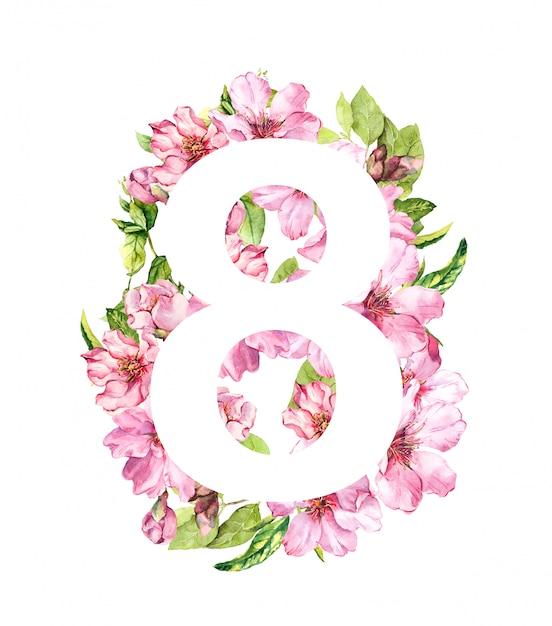 3月8日の花カード。春の桜の花とピンクの花。女性の日の水彩 Premium写真