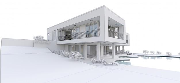 3 dのモダンな家、。 3 dイラスト。 Premium写真