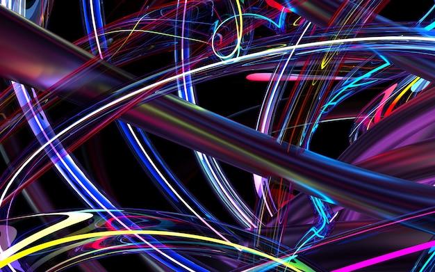 曲線に基づく抽象芸術3 d背景の3 dレンダリングパープルガラスとピンクの金属材料の丸い波状管、輝くネオン要素 Premium写真