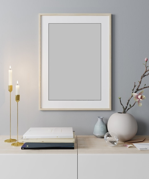 モダンなインテリアの背景、スカンジナビアスタイル、3 dレンダリング、3 dイラストでポスターフレームのモックアップします。 Premium写真