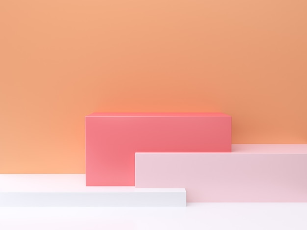 3 dの抽象的な最小限の背景オレンジ色の壁、正方形、ピンク、白の3 dレンダリング Premium写真