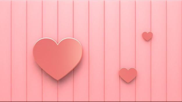 ピンクの床3 dレンダリングに3 dピンクメタリックハート Premium写真