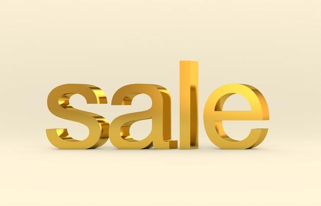 販売3 dテキストの言葉。ゴールドの質感、3 dのレンダリング。 Premium写真