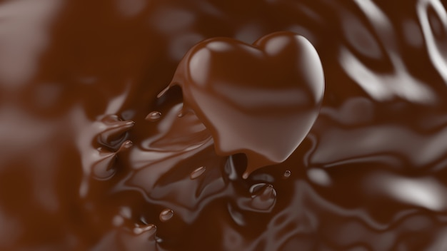 バレンタインや愛の概念、3 dレンダリング、3 dイラストのハートの形にしぶきチョコレートのスプラッシュ。 Premium写真