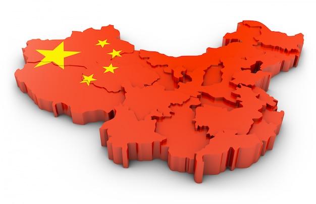 白い背景の上の中国の3 dマップ。 3dレンダリング Premium写真