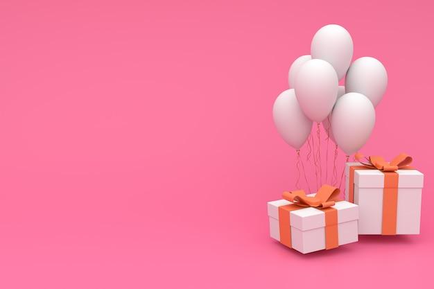ピンクの弓と現実的なカラフルな風船とギフトボックスの3 dレンダリング図。パーティー、プロモーションソーシャルメディアバナー、ポスター、誕生日の空のcopyspace Premium写真