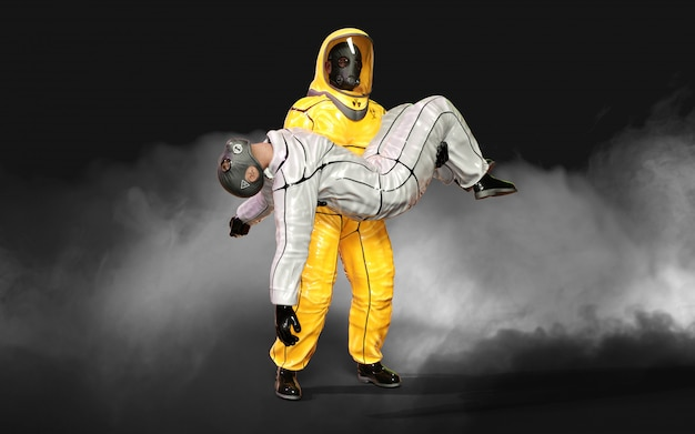 3 dイラストレーションマン、ウイルス保護バイオハザードスーツで、コロナウイルスを停止するマスクを着用またはクリッピングパスと暗い背景にcovid 19の発生。 Premium写真