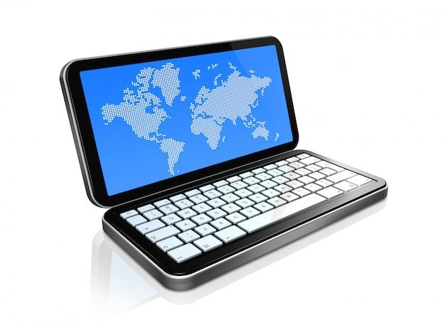 3 d携帯電話、画面上の世界地図と白で隔離されるpda Premium写真