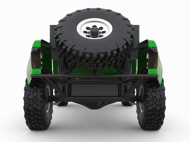 砂漠の地形に最も適したグリーンスポーツレーストラック。 3 dイラスト。 Premium写真