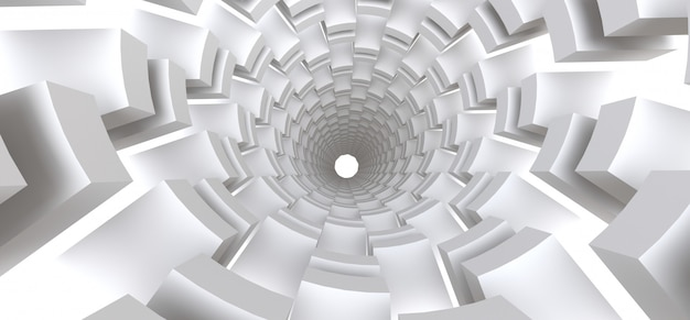あなたのデザインの抽象的な背景としての長い白いトンネル。 3 dイラスト。 Premium写真