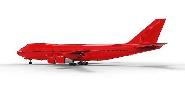 長い大西洋横断飛行のための大容量の大型旅客機。孤立した白地に赤い飛行機。 3 dイラスト。 Premium写真