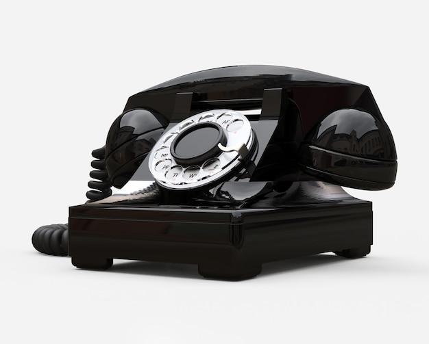 古いブラックダイヤル電話。 3 dイラスト。 Premium写真