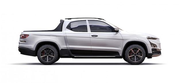 ホワイトコンセプト貨物ピックアップトラックの3 dイラストレーション Premium写真