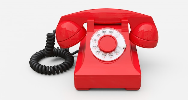 白い背景の上の古い赤いダイヤル電話。 3 dイラスト。 Premium写真