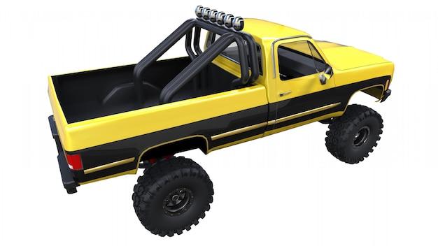 オフロードの大型ピックアップトラック。フル-トレーニング。高く上げられたサスペンション。岩や泥のためのスパイクを備えた巨大なホイール。 3 dイラスト。 Premium写真