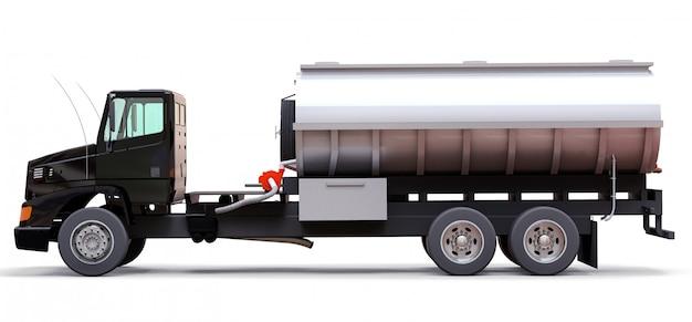 磨かれた金属製のトレーラーを備えた大型の黒いトラックタンカー。あらゆる側面からの眺め。 3 dイラスト。 Premium写真