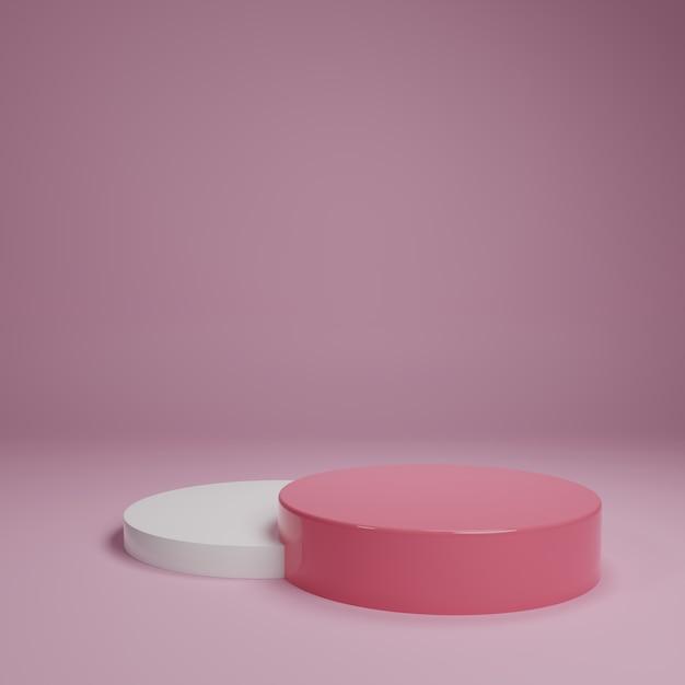 白ピンクのパステル製品が背景に立っています。抽象的な最小限の幾何学の概念。スタジオ表彰台プラットフォームのテーマ。展示会ビジネスマーケティングプレゼンテーションステージ。 3 dイラストレンダリンググラフィックデザイン Premium写真