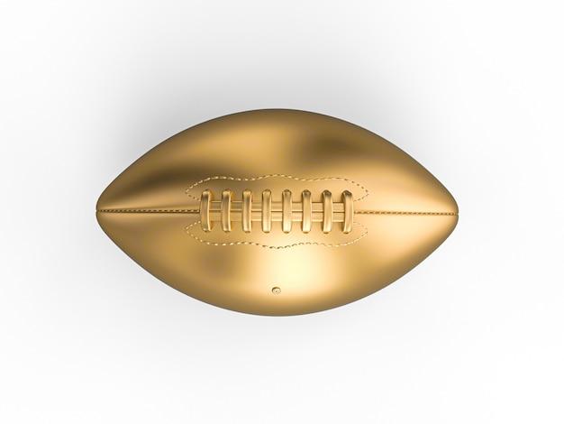 ゴールドカラーのアメリカンフットボールボールの3 dレンダリング Premium写真