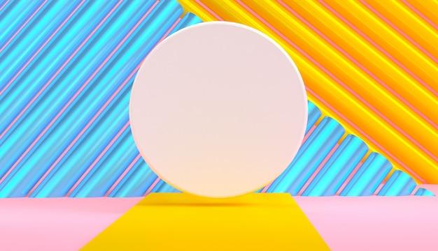 原始的な幾何学的図形は、背景、パステルカラー、3 dレンダリングを抽象化します。 Premium写真