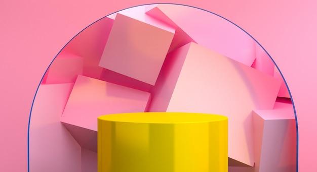 ミニマリストの抽象的な背景、原始的な幾何学的図形、パステルカラー、3 dレンダリング。 Premium写真