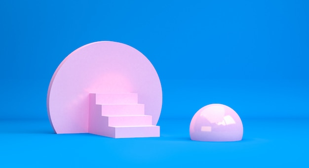 ミニマリストの抽象的な原始的な幾何学的図形、パステルカラー、3 dのレンダリング Premium写真