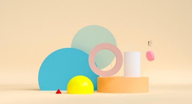 幾何学的抽象デザイン、背景、3 dのレンダリング、トレンドポスター。 Premium写真