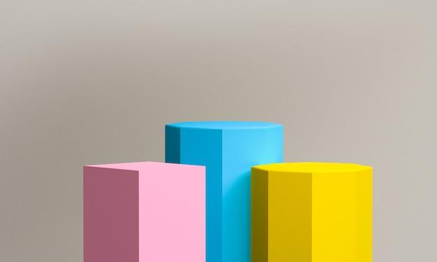 ミニマリストの抽象的な背景、原始的な幾何学的図形、パステルカラー、3 dのレンダリング。 Premium写真