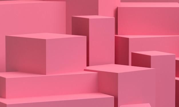 ピンクの幾何学的形状の原始的な幾何学。ミニマリストの抽象的な背景、3 dのレンダリング。 Premium写真