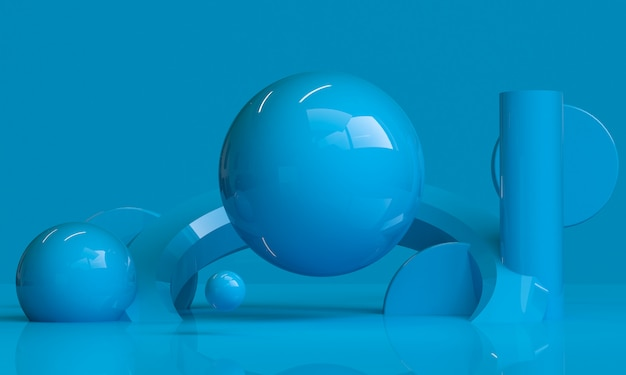 ブルーの幾何学的形状のミニマリストの抽象的な背景、3 dのレンダリング。 Premium写真