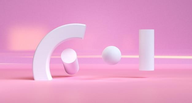 ピンクの幾何学的形状のミニマリストの抽象的な背景、3 dのレンダリング。 Premium写真