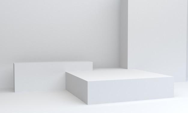 幾何学的な白い図形シーンの最小限、3 dレンダリング。 Premium写真